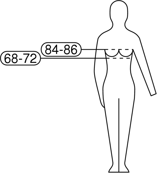 B Cup Chest Measurement pictogram for bra size 70B